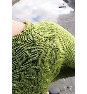 image shows the shoulder of a person wearing a green hand knit sweater