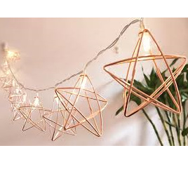 1.5m Rose Gold Stars String Battery Fairy Lights - Warm White