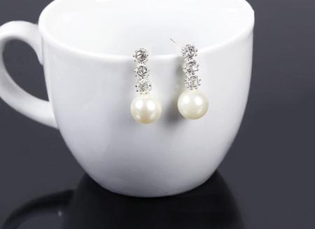 Imitation Pearl Earrings with Rhinestone Decoration