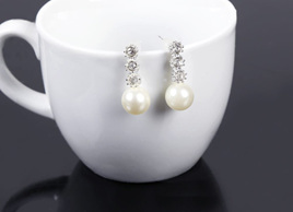Imitation Pearl Earrings with Rhinestone Decoration