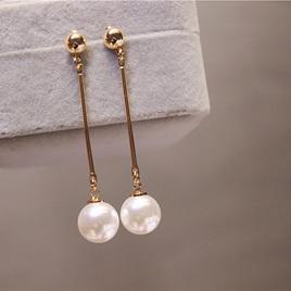 Imitation Pearl Long Dangle Earrings