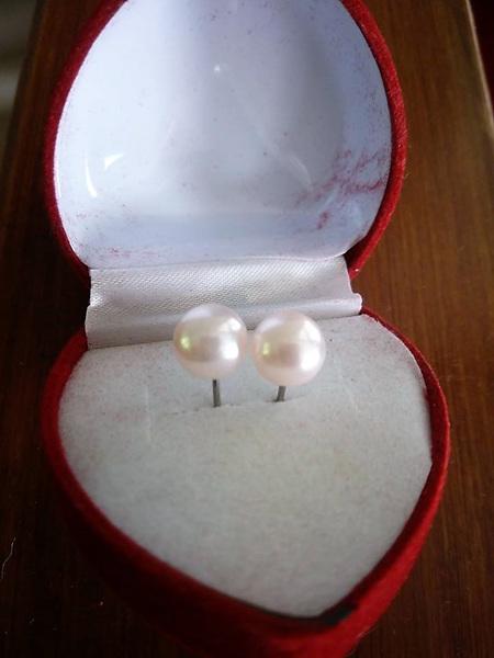 Immitation Pearl Stud Earrings - Pale Pink