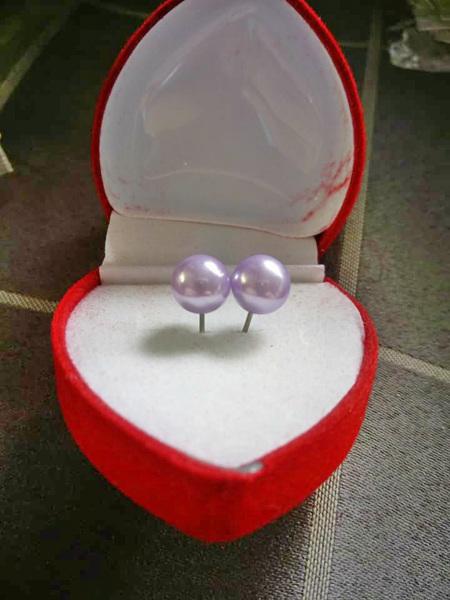 Immitation Pearl Stud Earrings - Purple