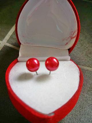 Immitation Pearl Stud Earrings - Red