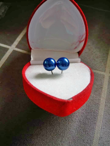 Immitation Pearl Stud Earrings - Royal Blue
