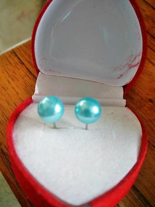 Immitation Pearl Stud Earrings - Sky Blue
