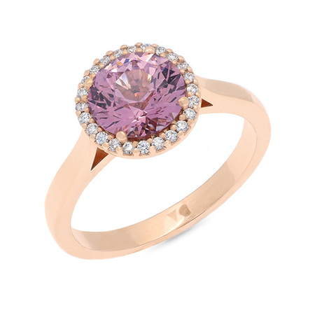 Imperial Garnet Diamond Halo Ring