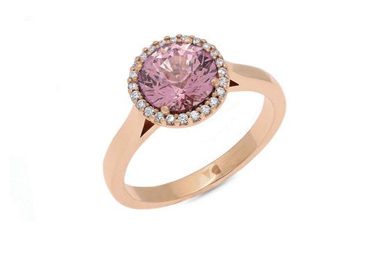 Imperial Garnet Diamond Halo Ring