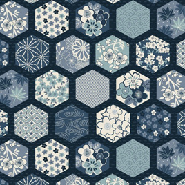 Indigo Hexagons Blue TP-2151-B