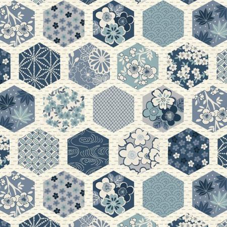 Indigo Hexagons White TP-2151-Q