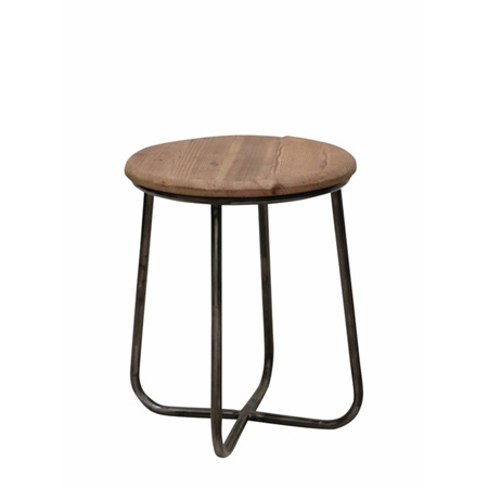 Industrial Recycled Pine & Metal Stool or Side Table