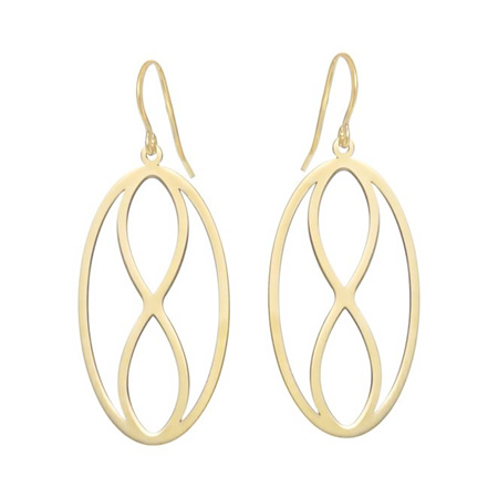 Infinity Oval Gold Drop Earrings