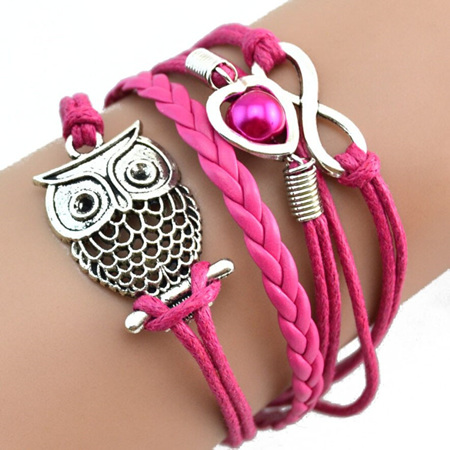 Infinity Owl Pearl  Multilayer Charm Bracelets - Hot Pink