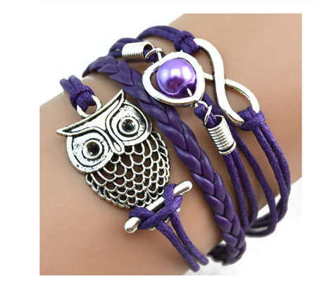Infinity Owl Pearl  Multilayer Charm Bracelets - PURPLE