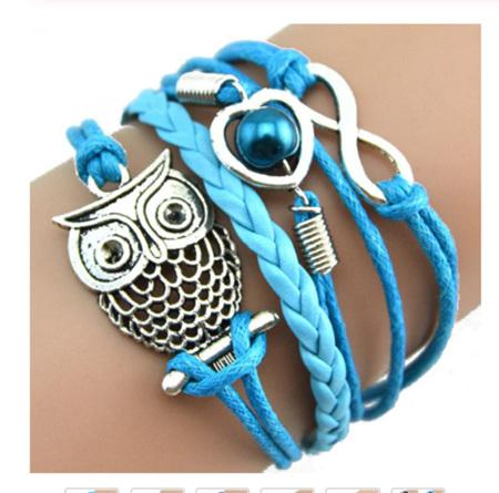 Infinity Owl Pearl  Multilayer Charm Bracelets - SKY BLUE