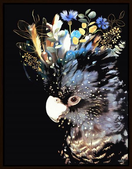 INKHEART BLUE/BLACK COCKATOO 70X90cm