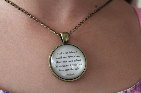 INSPIRATIONAL QUOTE NECKLACE...HAD I NOT FALLEN....ANTIQUE GOLD