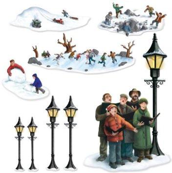 Insta Theme Lampposts, Carolers & Winter Fun Props