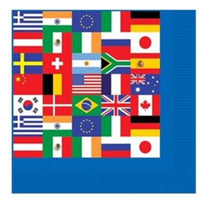 International Flag Napkins pack of 16