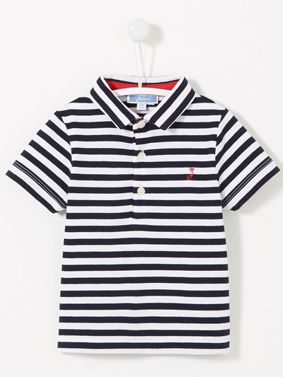 Jacadi Navy and white stripped Polo