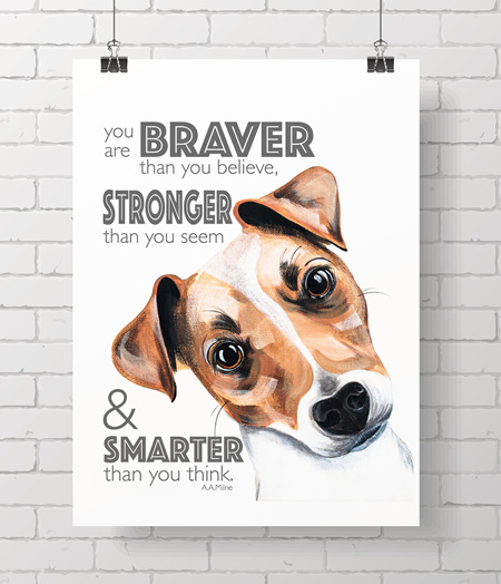 Jack Russell with quote - on A3