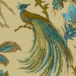 Jacobean Birds Peacock A-9124-B