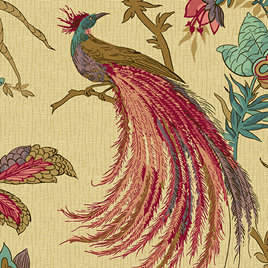 Jacobean Birds Rose A-9124-R
