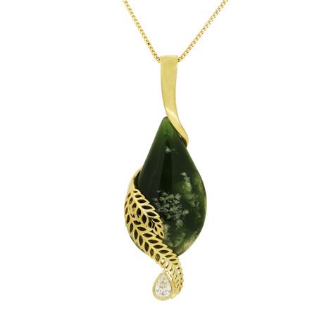 Jade and Diamond Fern Leaf Pendant