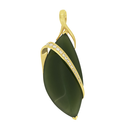 Jade and Diamond Pendant with Gold Band