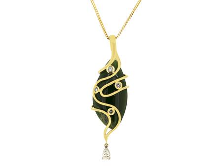 Jade Pendant with Diamond Droplets