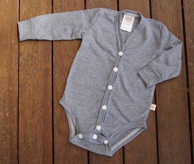 """Jamie"" Cardigan style Onesie, ""Blue Stripe"" 50/50 NZ Merino/Cotton"