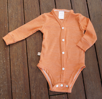 """Jamie"" Cardigan style Onesie, 'Sunset' 50/50 Merino/Cotton, 1 yr"