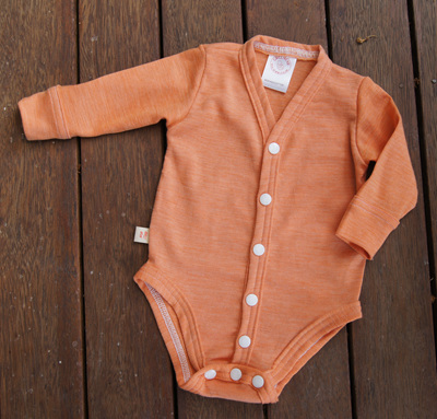 """Jamie"" Cardigan Style Onesie with cuff bands, 'Sunset' 50/50 NZ Merino and Cotton"