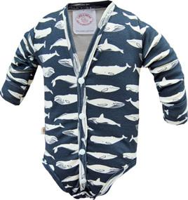 'Jamie' Onesie, Cardigan Style, 'Kujira, Navy' GOTS Organic Cotton, 1 year