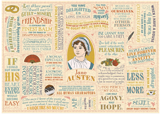 Janes Austen Literary Lines 1000 Piece Jigsaw Puzzle buy at www.puzzlesnz.co.nz