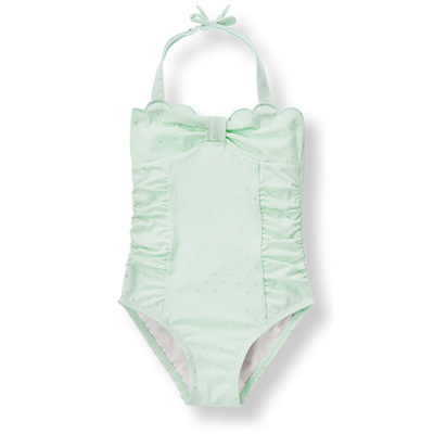 Janie and Jack Mint Green and silver spot swim suite
