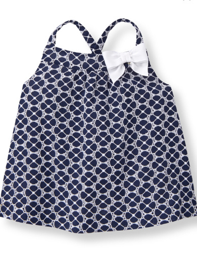 Janie and Jack Navy and White cross over back top