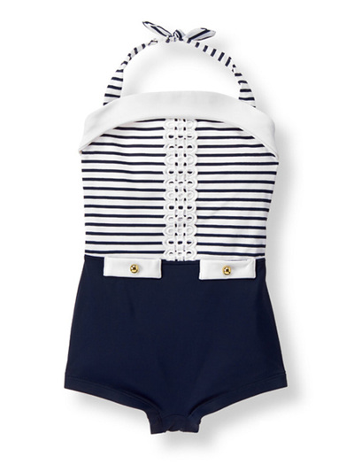 Janie and Jack Navy and white swim suite