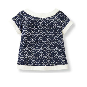 Janie and Jack Navy and white top