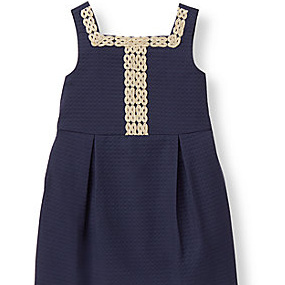 Janie and Jack Navy  dress with gold edge