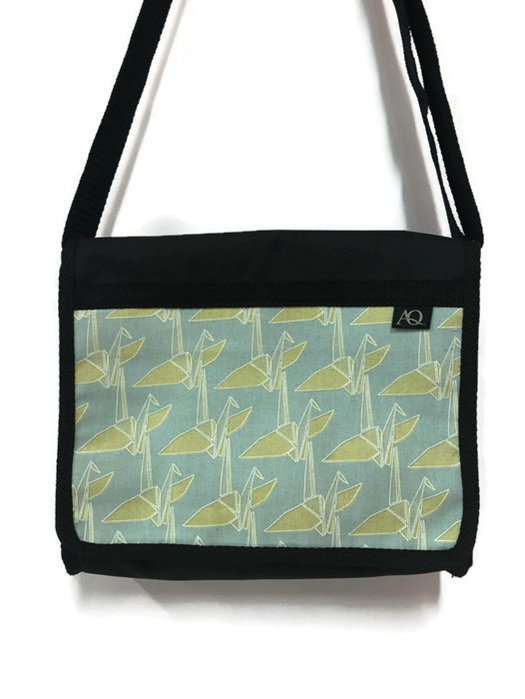 Japanese crane fabric in greens.  A practical satchel and NZ made