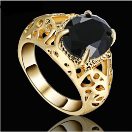 Jet Black Gemstone With Gold Band Ring - US9
