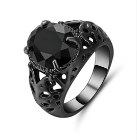 Jet Black Gemstone With Gunmetal Band Ring - US9