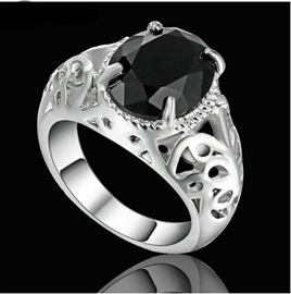 Jet Black Gemstone With Silver Band Ring - US9
