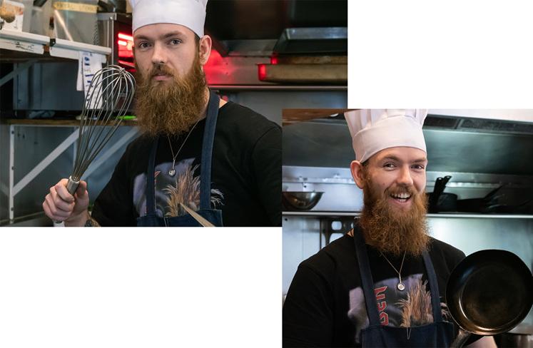Jeweller in kitchen wearing chefs hat frying pan pendant jewellery design