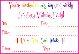 Jewellery Making Birthday Party Invitations