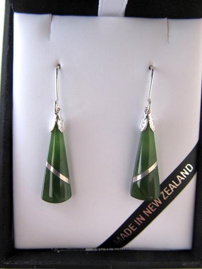 JIE402 Wedge shaped greenstone earrings with silver thread