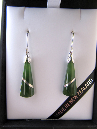 JIE402 Wedge shaped greenstone earrings with silver thread set in silver.