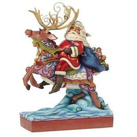 Jim Shore Heartwood Creek - Santa Riding Reindeer