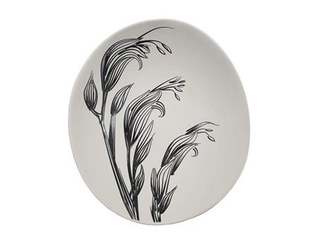 Jo Luping Design Black Flax Flower on White 10cm Bowl